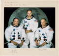 Explorers:Space Exploration, Apollo 11 White Spacesuit Large Color Photo, Crew-Signed on thePresentation Mat to Houston Oilers Owner Bud Adams. ... (Total: 2Items)