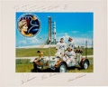 Explorers:Space Exploration, Apollo 17 Large White Spacesuit Color Photo, Crew-Signed on thePresentation Mat to Houston Oilers Owner Bud Adams.... (Total: 2Items)