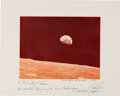 "Explorers:Space Exploration, Apollo 8: James Lovell Large ""Earthrise"" Color Photo Signed on thePresentation Mat to Houston Oilers Owner Bud Adams. ..."
