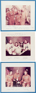 Explorers:Space Exploration, Skylab I (SL-2), Skylab II (SL-3), and Skylab III (SL-4) LargeColor Photos, Each Crew-Signed on Presentation Mats to Houston ...(Total: 3 Items)