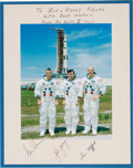 Explorers:Space Exploration, Apollo 10 Large White Spacesuit Color Photo, Crew-Signed on thePresentation Mat to Houston Oilers Owner Bud Adams. ...