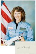 Autographs:Celebrities, Christa McAuliffe Signature with Color Photo....