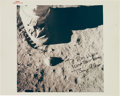 "Explorers:Space Exploration, Buzz Aldrin Signed Original NASA ""Red Number"" Lunar Surface""Moonboot"" Color Photo. ..."