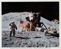Autographs:Celebrities, Jim Irwin Inscribed Signed Lunar Surface Flag Salute Color Photo....