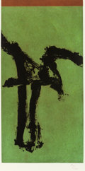 Fine Art - Work on Paper:Print, Robert Motherwell (1915-1991). Primal Sign IV (variant),1980. Aquatint with embossing on wove paper. 23-5/8 x 11-3/4 in...