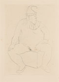 Fine Art - Work on Paper:Print, Pablo Picasso (1881-1973). Saltimbanque au repos, 1905. Drypoint on paper. 4-3/4 x 3-3/8 inches (12.1 x 8.6 cm) (image)...