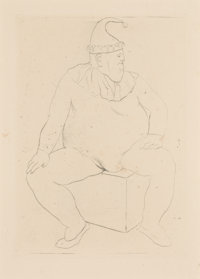 Pablo Picasso (1881-1973) Saltimbanque au repos, 1905 Drypoint on paper 4-3/4 x 3-3/8 inches (12.1 x 8.6 cm) (image)