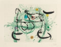Fine Art - Work on Paper:Print, Joan Miró (1893-1983). L'écartelée, 1970. Etching andaquatint in colors with carborundum on Mandeure rag paper. 18-1/2...