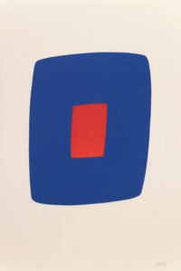 Ellsworth Kelly (1923-2015) Dark Blue with Red Serie VI, No. 7, 1964-65 Lithograph in colors on Rive