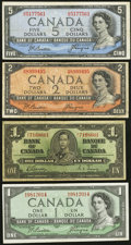 Canadian Currency: , A Quartet of Bank of Canada Notes 1937-1954 including a Devil'sHead $2 and $5.. ... (Total: 4 notes)