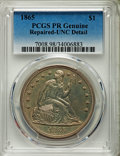 Proof Seated Dollars, 1865 $1 -- Repaired -- PCGS Proof Genuine. Unc Details. OC-P2, R.3....