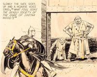 Hal Foster Prince Valiant Partial Sunday Single Panel Illustration Original Art dated 12-11-37 (King Features Synd