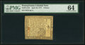 Colonial Notes:Pennsylvania, Pennsylvania April 10, 1777 4d PMG Choice Uncirculated 64.. ...
