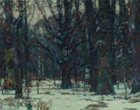 John Fabian Carlson (Swedish/American, 1874-1945) Wintry Woodland Oil on canvas 25 x 32-1/2 inche