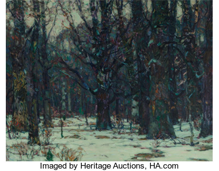 John Fabian Carlson (Swedish/American, 1874-1945)Wintry WoodlandOil on canvas25 x 32-1/2 inches (63.5 x 82.6 cm)...