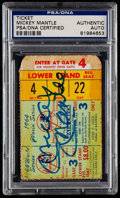 Baseball Collectibles:Tickets, Mickey Mantle Signed 1964 World Series Ticket Stub PSA/DNACertified....