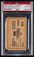 Olympic Collectibles:Autographs, 1932 Summer Olympics Track & Field Ticket Stub....