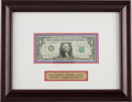 Autographs:Celebrities, Mercury Seven Astronauts: Gus Grissom and Gordon Cooper Signed U.S.One Dollar Bill in Framed Display. ...