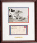 Transportation:Aviation, [Aviation] Wiley Post and Harold Gatty Signed 1931 Cover Flown onthe World's First Circumnavigational Flight in Framed Displa...