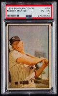 Baseball Cards:Singles (1950-1959), 1953 Bowman Color Mickey Mantle #59 PSA VG-EX 4....