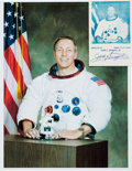 Autographs:Celebrities, Jack Swigert: Signed Small Photo with Color Photo.... (Total: 2Items)