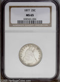 Seated Quarters: , 1877 25C MS65 NGC. PCGS Population (49/78). NGC Census: (37/72).Mintage: 10,911,710. Numismedia Wsl. Price: $1,425. (#5504...