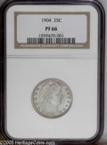 Proof Barber Quarters: , 1904 25C PR66 NGC. PCGS Population (26/9). NGC Census: (25/31). Mintage: 670. Numismedia Wsl. Price: $2,350....