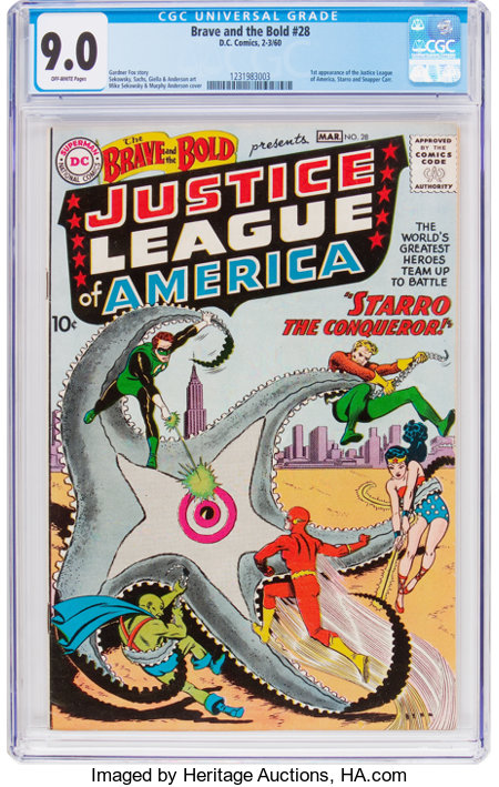 The Brave and the Bold #28 Justice League of America (DC, 1960) CGC VF/NM 9.0 Off-white pages....
