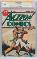 Golden Age (1938-1955):Superhero, Action Comics #8 Signature Series (DC, 1939) CGC GD 2.0 Light tan to off-white pages....