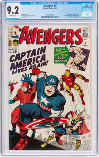 The Avengers #4 (Marvel, 1964) CGC NM- 9.2 Off-white pages
