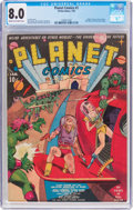 Golden Age (1938-1955):Science Fiction, Planet Comics #1 (Fiction House, 1940) CGC VF 8.0 Cream tooff-white pages....