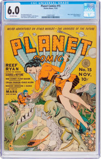 Planet Comics #15 (Fiction House, 1941) CGC FN 6.0 Off-white pages