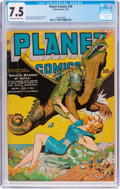 Golden Age (1938-1955):Science Fiction, Planet Comics #29 (Fiction House, 1944) CGC VF- 7.5 Off-white towhite pages....