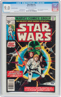 Bronze Age (1970-1979):Science Fiction, Star Wars #1 35 Cent Price Variant (Marvel, 1977) CGC VF/NM 9.0 Off-white to white pages....