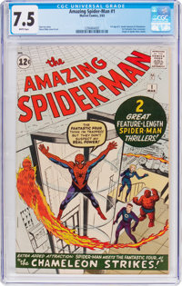 The Amazing Spider-Man #1 (Marvel, 1963) CGC VF- 7.5 White pages