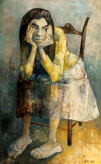 Jean Léon Jansem (1920-2013) Untitled (Seated Girl) Oil on canvas 51-1/2 x 32 inches (130.8 x 81