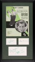 Movie/TV Memorabilia:Posters, A Fred Astaire, Ginger Rogers, Irene Dunn Signed Display....