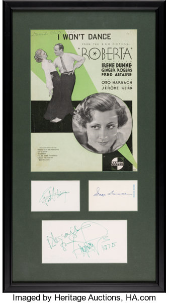 A Fred Astaire, Ginger Rogers, Irene Dunn Signed Display