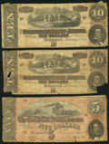 Confederate Notes:Group Lots, Trio of One $5 (T69) and Two $10 (T68) 1864 Series Notes.. ...(Total: 3 notes)