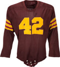 Football Collectibles:Uniforms, 1950's Maroon Durene Game Worn Jersey....