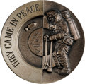 """Explorers:Space Exploration, Apollo 11 Religious Medal: """"They / He Came In Peace"""" High Relief,Sterling Silver, by John Roberts. ..."""