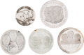 Explorers:Space Exploration, Apollo 11 Medals: Collection of Five in Sterling Silver Depictingall Three Crewmembers....