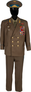 Explorers:Space Exploration, Alexei Leonov's Owned and Worn Soviet Air Force Major General's Uniform with Coat, Pants, Shirt, Tie, and Hat, Signed, with Ph... (Total: 5 Items)