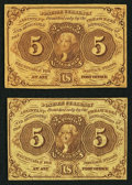 Fractional Currency:First Issue, Fr. 1230 5¢ First Issue Fine or better. Two Examples.. ... (Total: 2 notes)