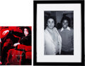 Music Memorabilia:Autographs and Signed Items, Michael Jackson Signed Color Photo and Framed Black and WhitePhoto....
