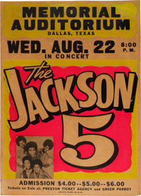 Jackson 5 Memorial Auditorium Concert Poster (1973). Extremely Rare