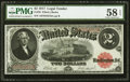 Large Size:Legal Tender Notes, Fr. 58 $2 1917 Legal Tender PMG Choice About Unc 58 EPQ.