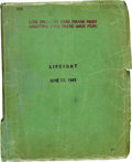 "Movie/TV Memorabilia:Documents, A Script from the Alfred Hitchcock Film ""Lifeboat.""..."