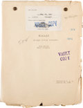 "Movie/TV Memorabilia:Documents, A Dialogue Cutting Continuity Script from ""Freaks.""..."