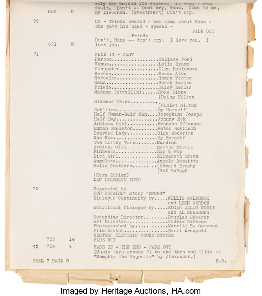 A Dialogue Cutting Continuity Script from